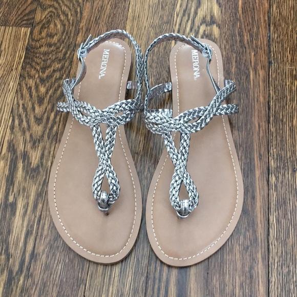 2402858fd2a303 Merona silver sandals. M 5aabd17f6bf5a6693e8654ba